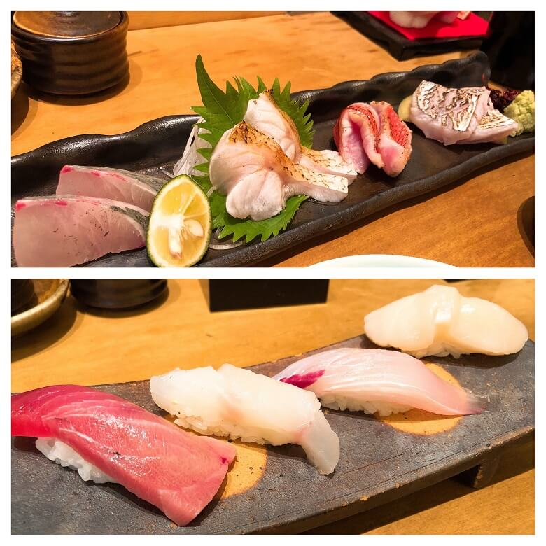 海馬の造りと寿司