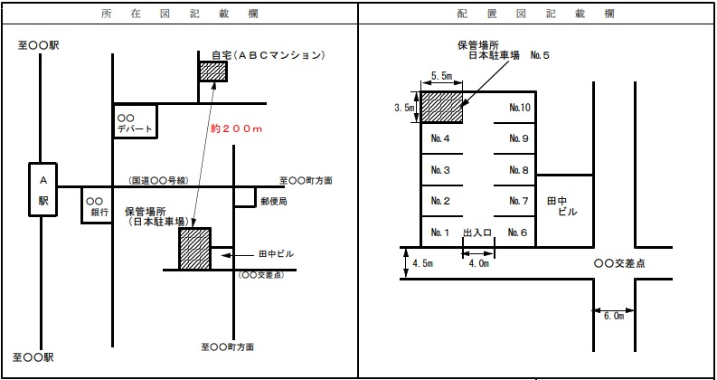 レンタル駐車場の場合の配置図記載例