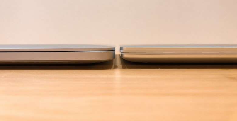 XPS13 2in1とMacBookProの薄さ比較